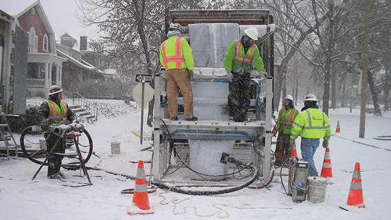Cured in place pipe (CIPP) installed on city street in winter